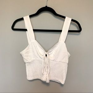 FOREVER 21 White Cropped Tie-Front Tank Top